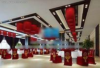 中式风格公共餐厅区装修效果图