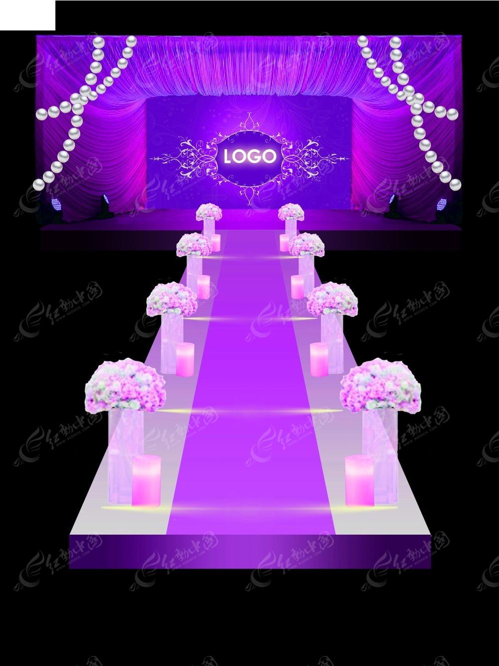 紫色梦幻风格婚礼场景设计