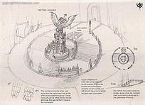 广场雕塑手绘线稿画