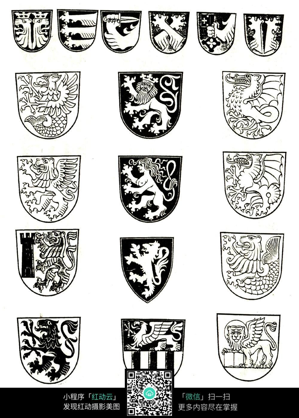 国外盾牌狮子印章图案设计素材jpg