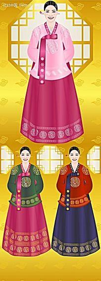 韩国古代服装女性韩国时尚风格插画图片