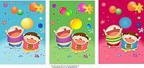 缺牙齿小孩和热气球儿童插画