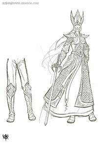 游戏盔甲女战士造型概念设计手绘线稿画
