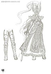 游戏拿刀穿风衣的女战士概念设计手绘线稿画