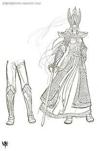 游戏拿刀的盔甲女战士概念设计手绘线稿画