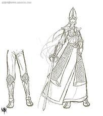 游戏女侠造型概念设计手绘线稿画