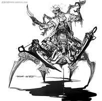 游戏蜘蛛侠武士概念设计手绘线稿画