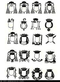 古典奖杯徽章图案素材
