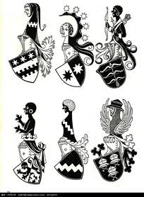 古典人物徽章图案