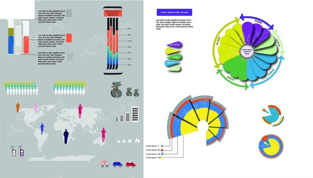 人口素材_多彩人口比例图表矢量素材