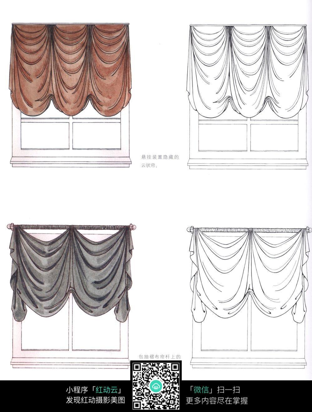 手绘窗帘装饰设计_家具电器图片