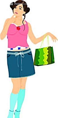 包包头俏丽女孩韩国时尚风格插图