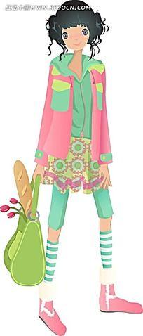 背包里装着面包的女孩韩国时尚图片