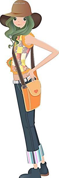 戴着时尚帽子穿着牛仔裤的女孩韩国时尚图片