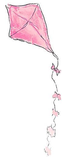 粉红色风筝手绘水彩插图