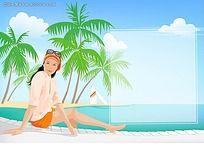 海滩上度假的女性矢量素材
