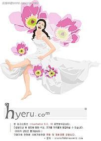 花与女孩矢量素材