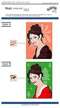 盘头化妆美女矢量素材