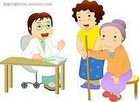 去看医生的老人卡通韩国时尚风格插画