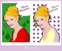 圣诞节微笑美女矢量素材