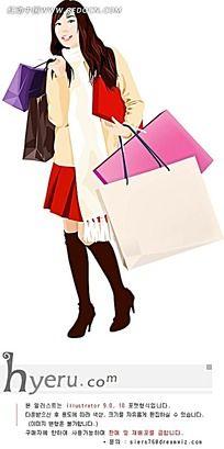 手提购物袋的矢量女性素材