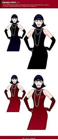 晚装打扮矢量女性素材