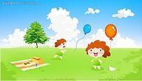 在草地上玩气球的可爱孩子矢量素材