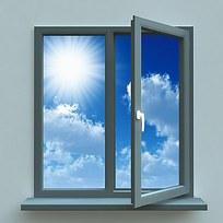 窗户窗外蓝天白云图