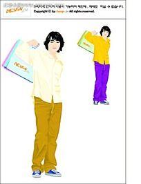 购物的男生矢量人物插画