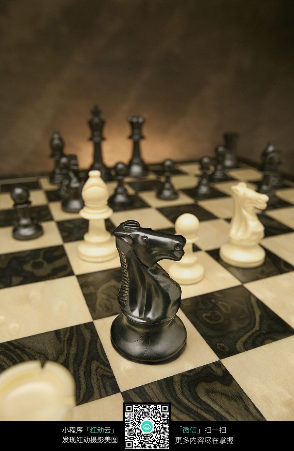 黑白马头国际象棋图片