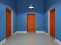 木门蓝色墙面素材