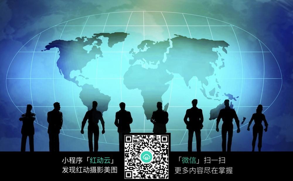 免费素材 图片素材 人物图片 职业人物 全球背景下的人影