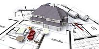 建筑图纸模型小房子家具背景图