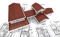 建筑图纸上的房屋模型