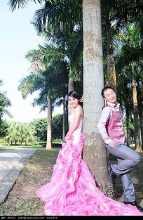 靠在树上的新郎新娘照