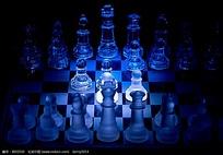 蓝色水晶透明国际橡棋JPG