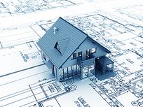施工图纸蓝色房子模型图