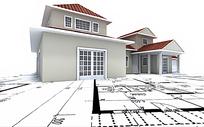 施工图纸仰视的别墅模型