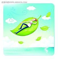 睡在叶子上的男人矢量人物插画