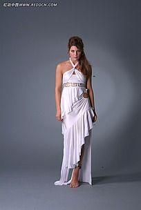 穿白裙的外国女人摄影写真JPG