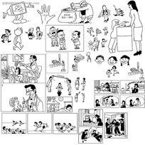 黑白简笔画漫画