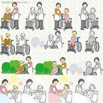 护理老人漫画