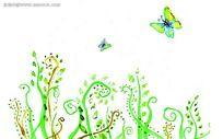手绘蝴蝶与卷草花纹图案