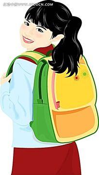 背书包上学的女生韩国矢量人物插画