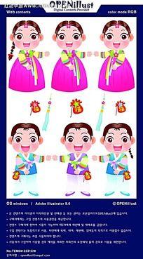 传统韩服卡通人物插图