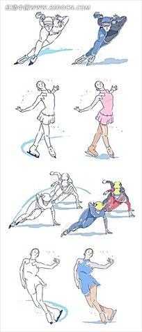 滑冰的人物卡通手绘