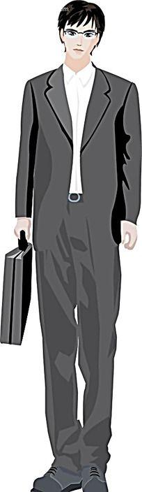 灰色西装男韩国矢量人物漫画