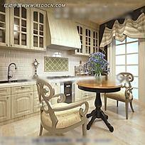 欧式厨房效果图图片