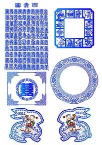 青花瓷风花纹图案素材