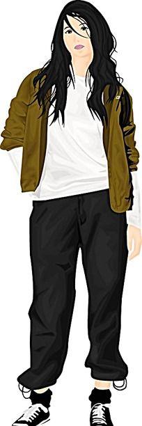 站立的牛仔裤女生人物插画矢量图_卡通形象